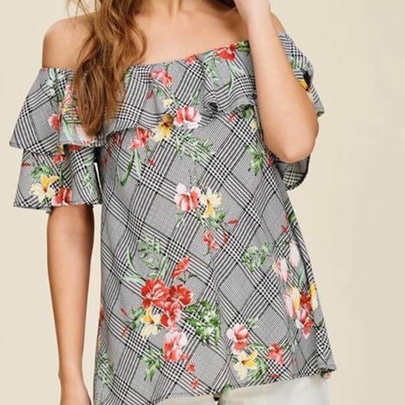 5c029a84fbd Tops | Plaid And Floral Off Shoulder Top With Ruffle | Poshmark